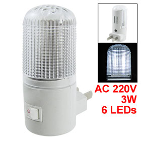 AC 220V 3W 2 Flat Pin Wall Plug White LED Night Lamp Room Light