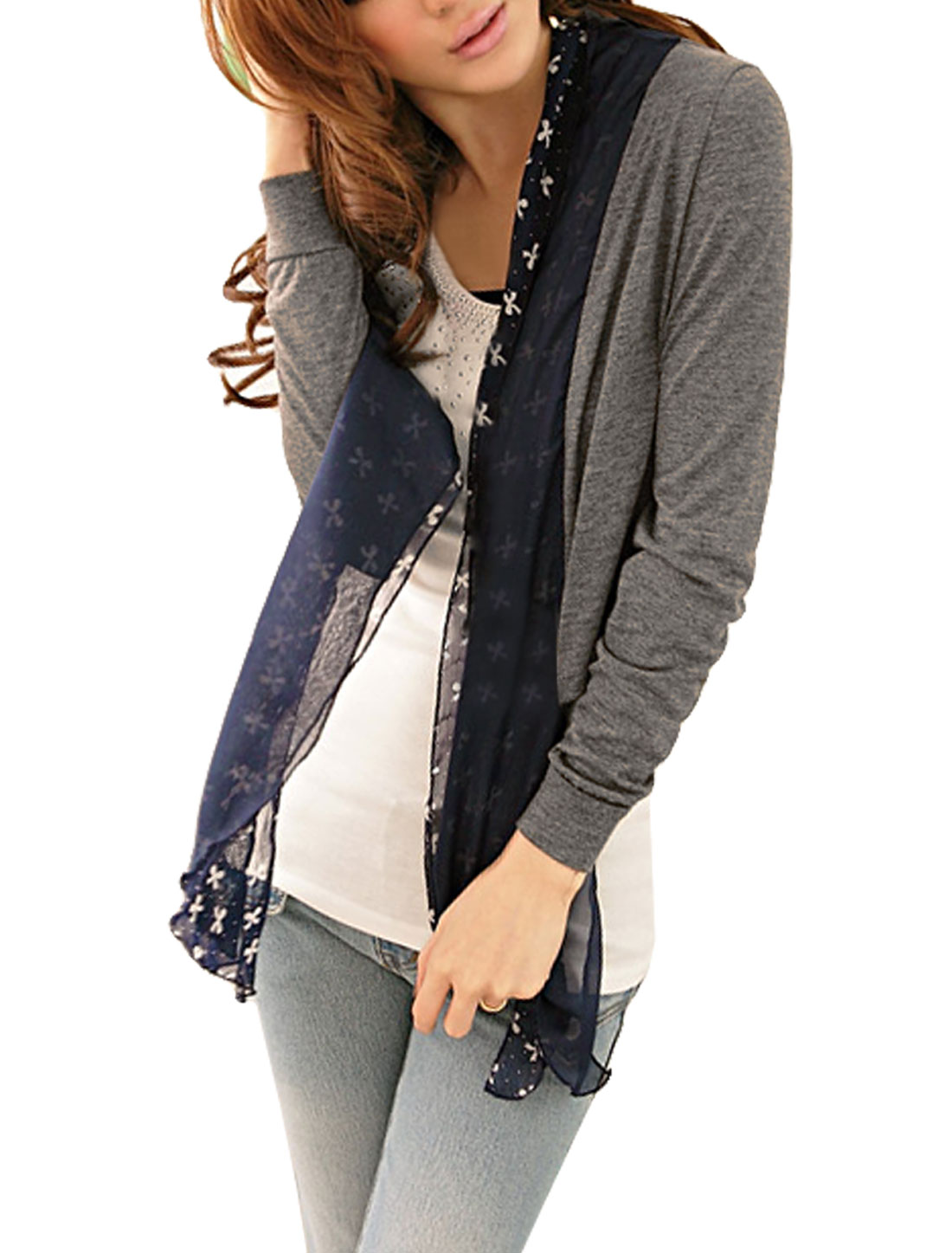 Heather Gray Bowknot Print Self Tie Strap Short Coat for Ladies