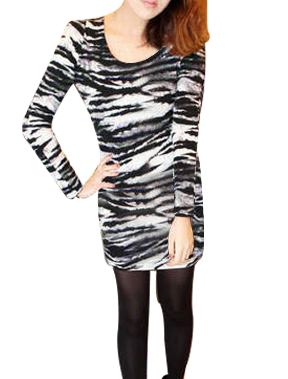 Black Zebra Print Stretchy Pullover Tunic Shirt XS for Women