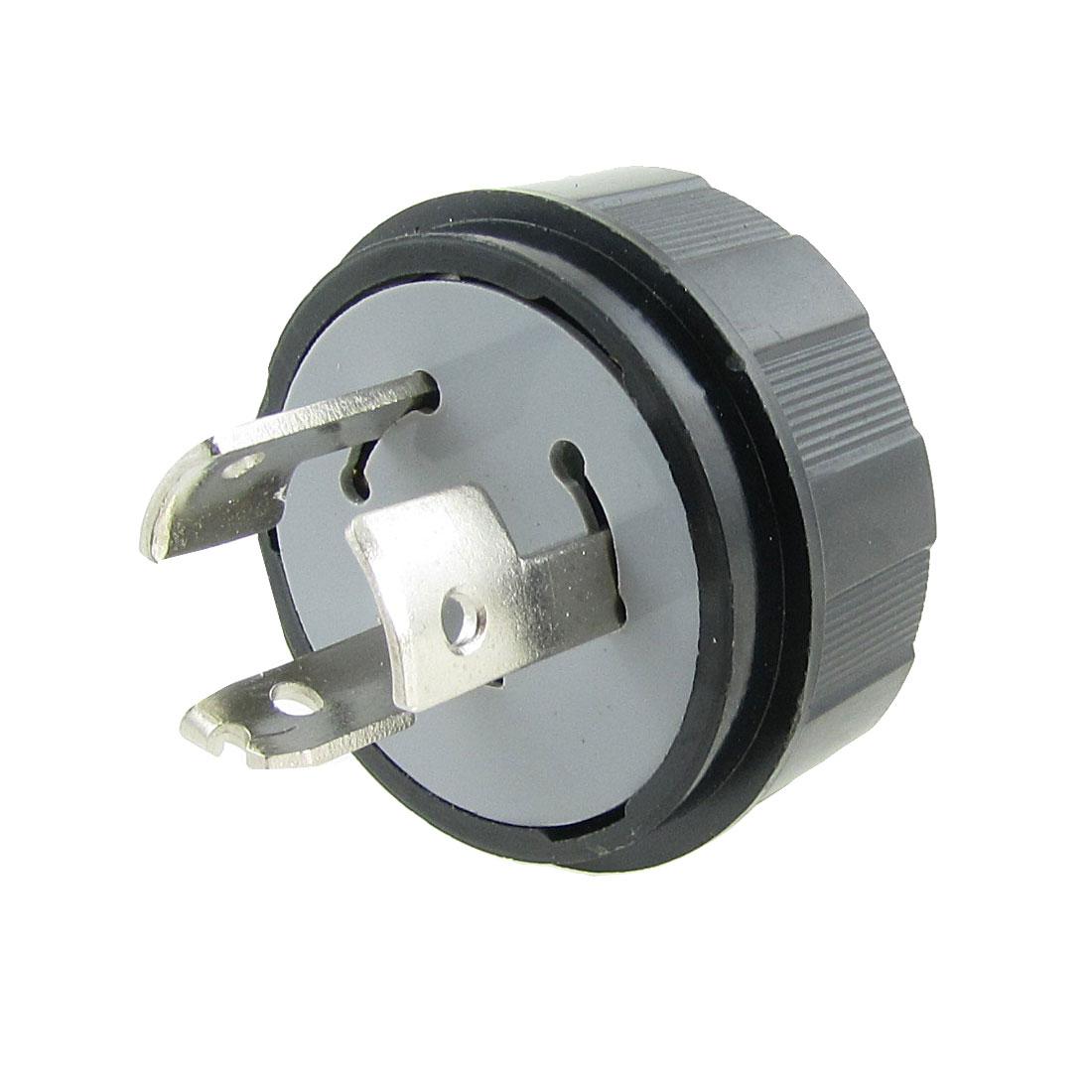Black LK6320 20A AC 250V Twist Locking 3 Pin Male Plug
