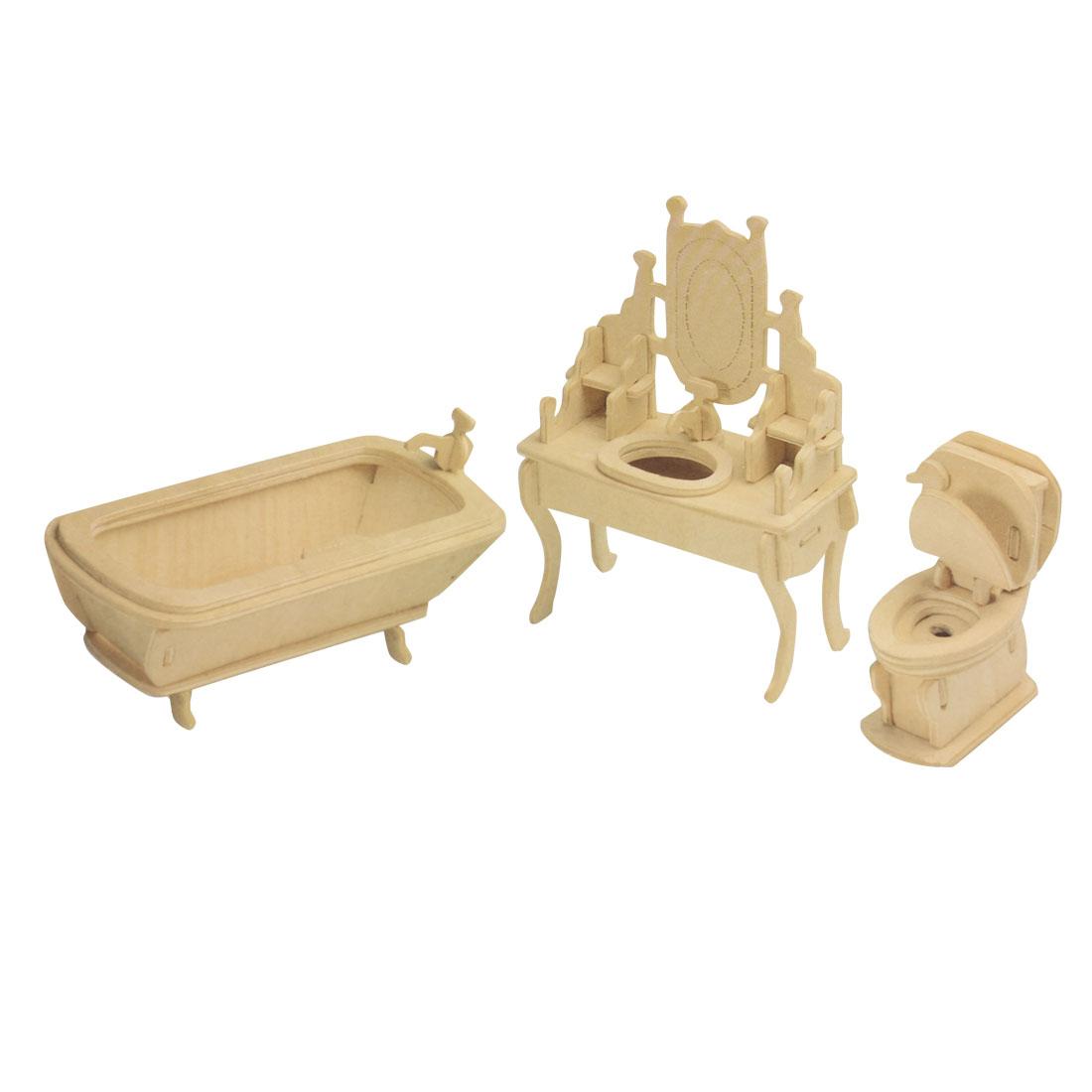 Kids 3D Wood Craft DIY Bathroom Model Wooden Construction Kit Toy Gift