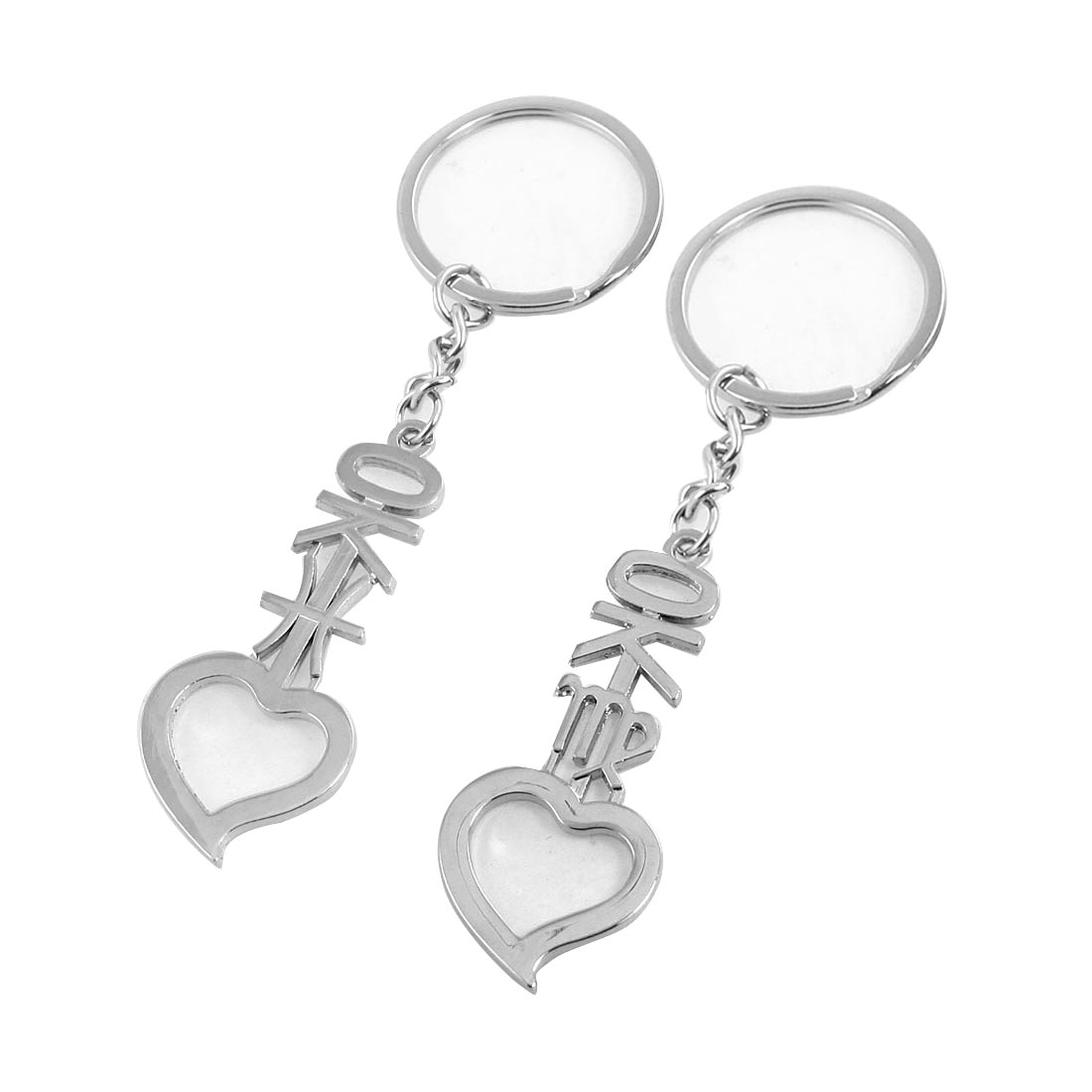 I Love You Forever Carved Heart Pendant Silver Tone Metal Keyrings 2 Pcs