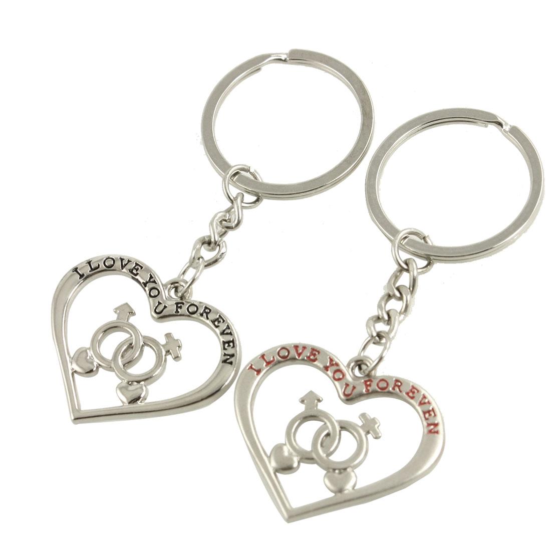 2 Pcs Metal Heart Pendant Keyring Keychains Silver Tone