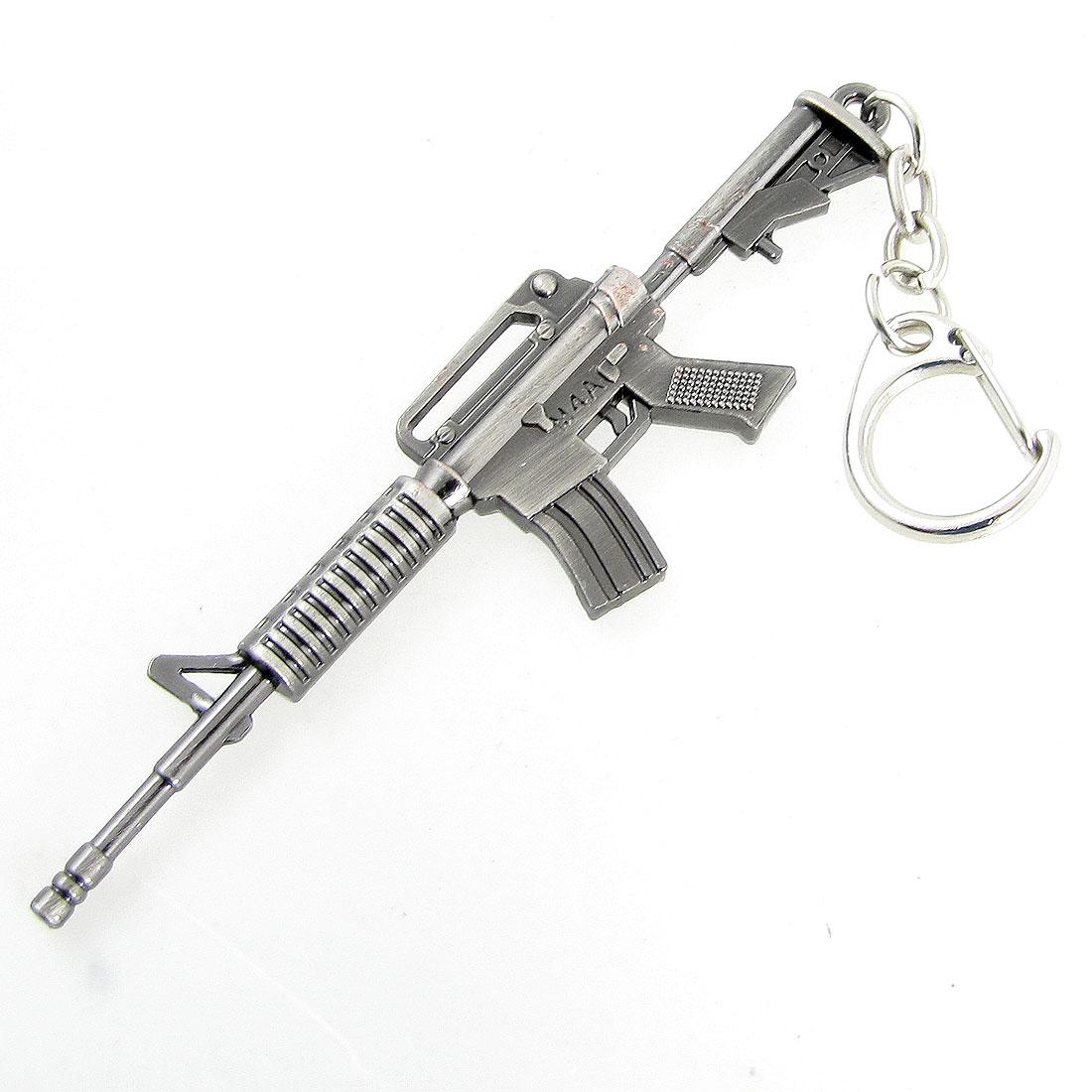 Miniature Gray Metal M4A1 Assault Rifle Model Keychain Bag Pendant