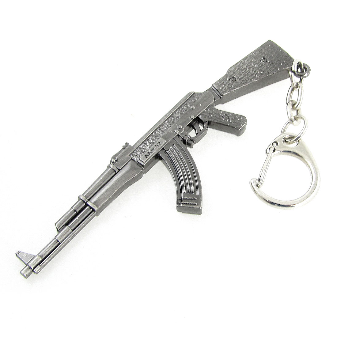 Miniature Rifle Gun Model Hook Keychain Keyring Pendant Gray 5.4 Inch Length