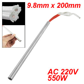 White Two-wire 9.8mm x 200mm Heating Element Cartridge Heater 220V 550W