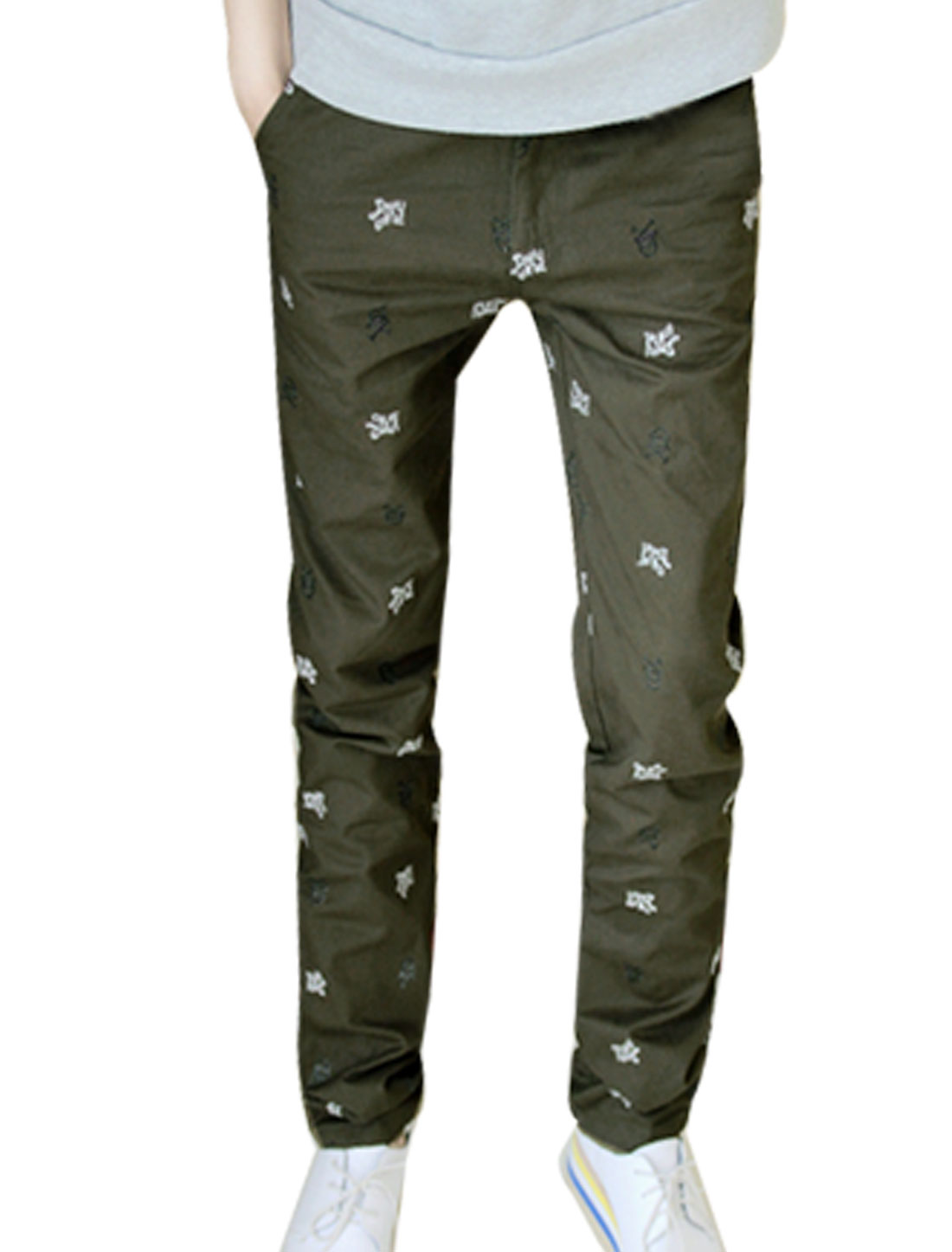 Stylish Mens Crossbone Embroider Straight Casual Pants Trousers Olive Green W30