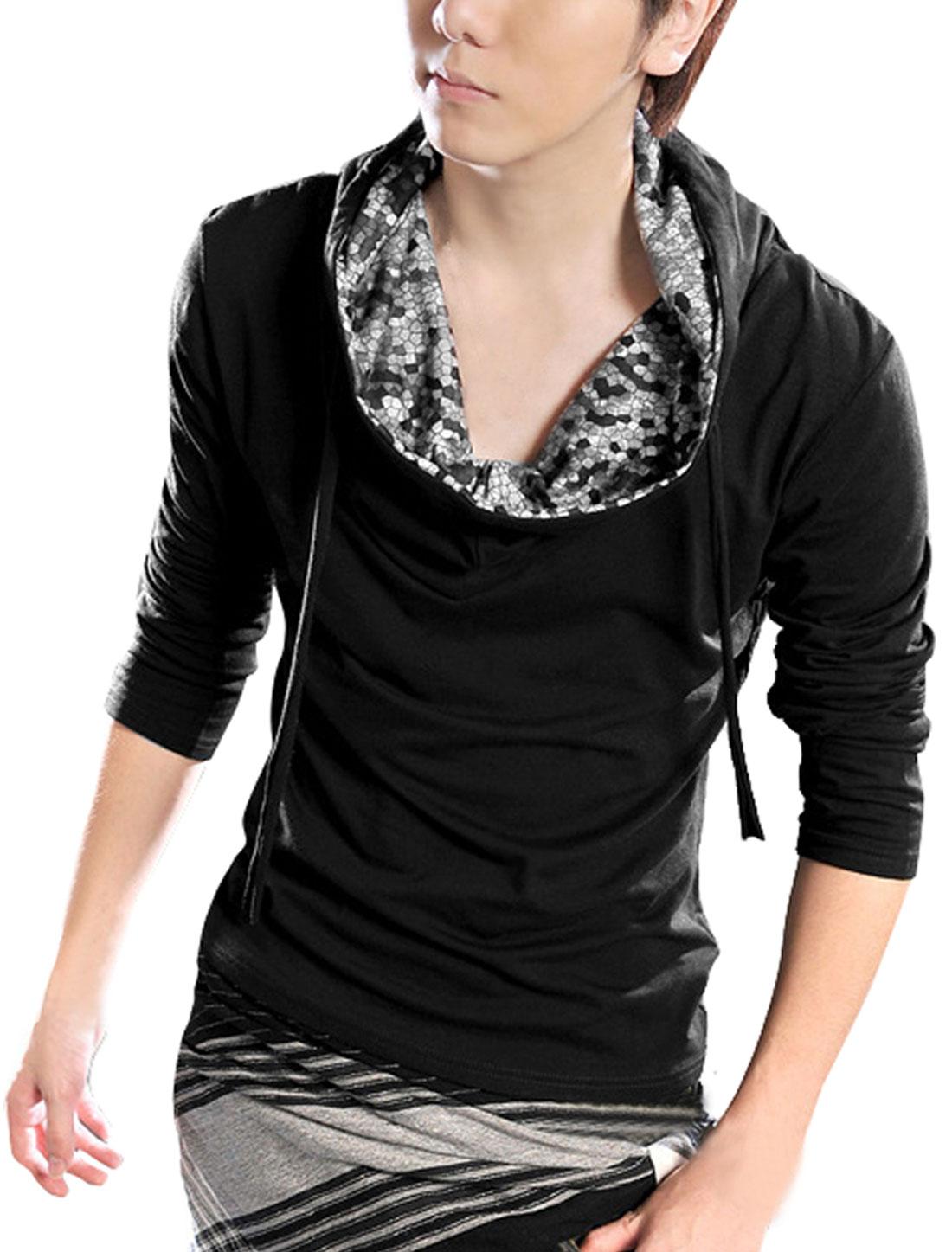 Mens UK Style Beehive Grid Hoodie Casual Shirt Sweatshirt Black M