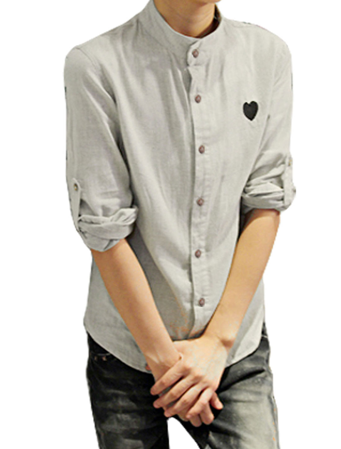 Mens Stylish Roll up Long Sleeve Casual Shirt Tops Gray XS