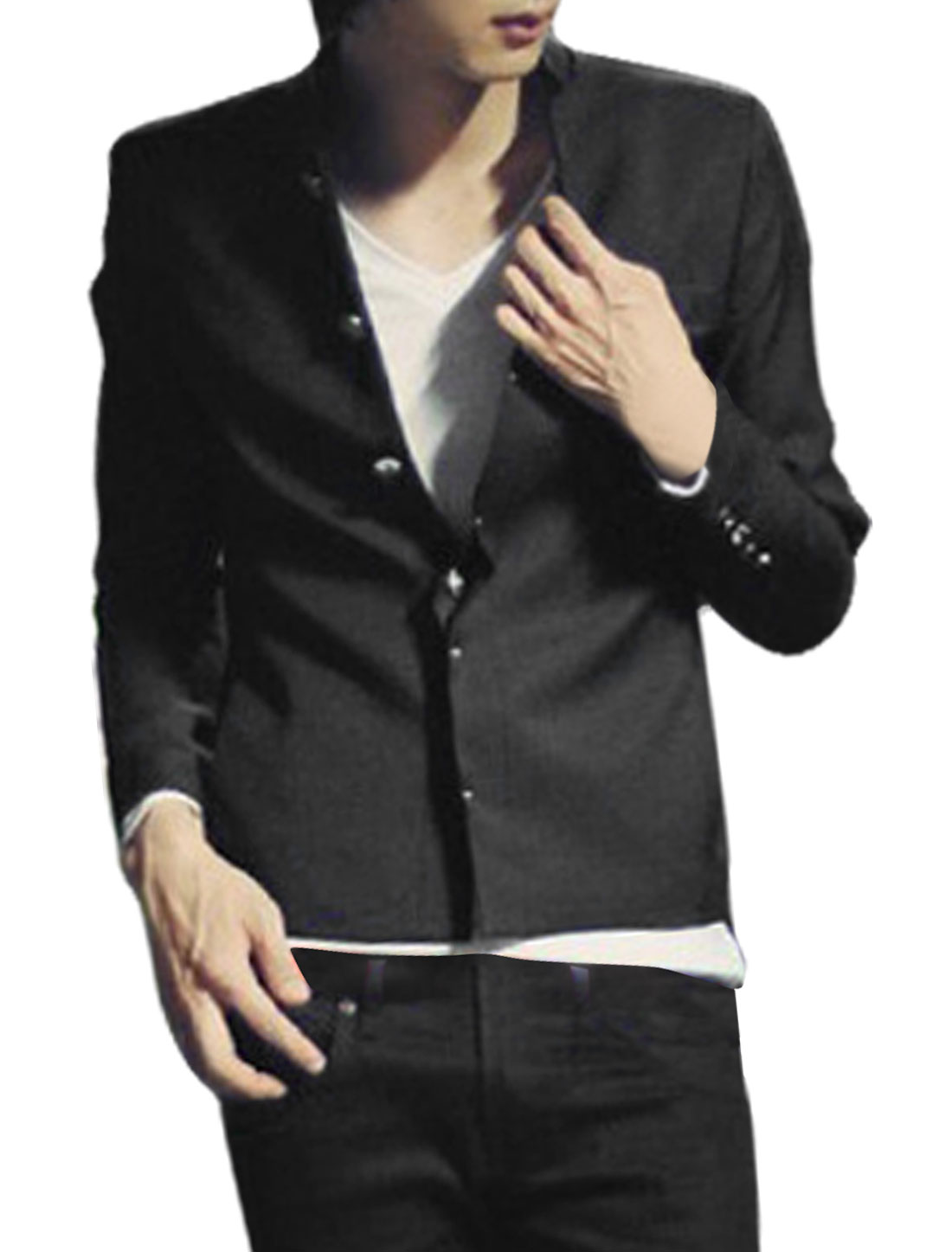Men Black Long Sleeve Stand Collar Button up Jacket Coat XS