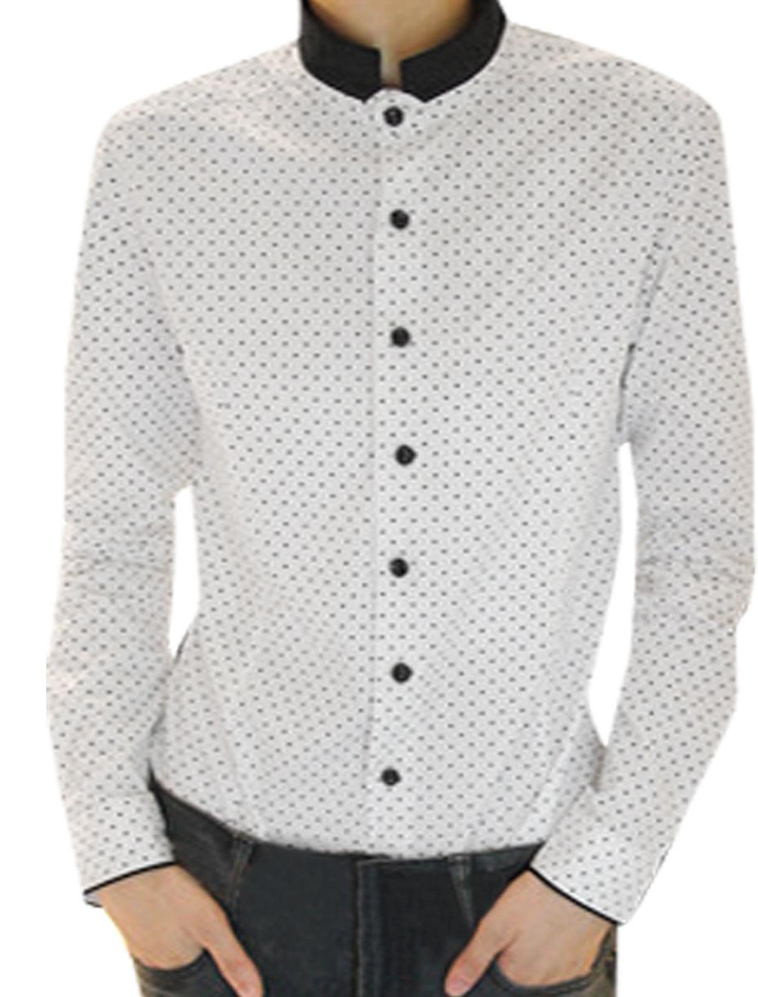 Mens Korean Style Long Sleeve Polka Dot Casual Shirt White Black S