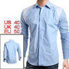 Men Casual Blue Point Collar Long Sleeve Dress Shirt M