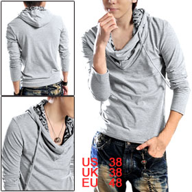 Mens UK Style Football Grid Slim Hoodie Shirts Sweatshirt Light Gray S