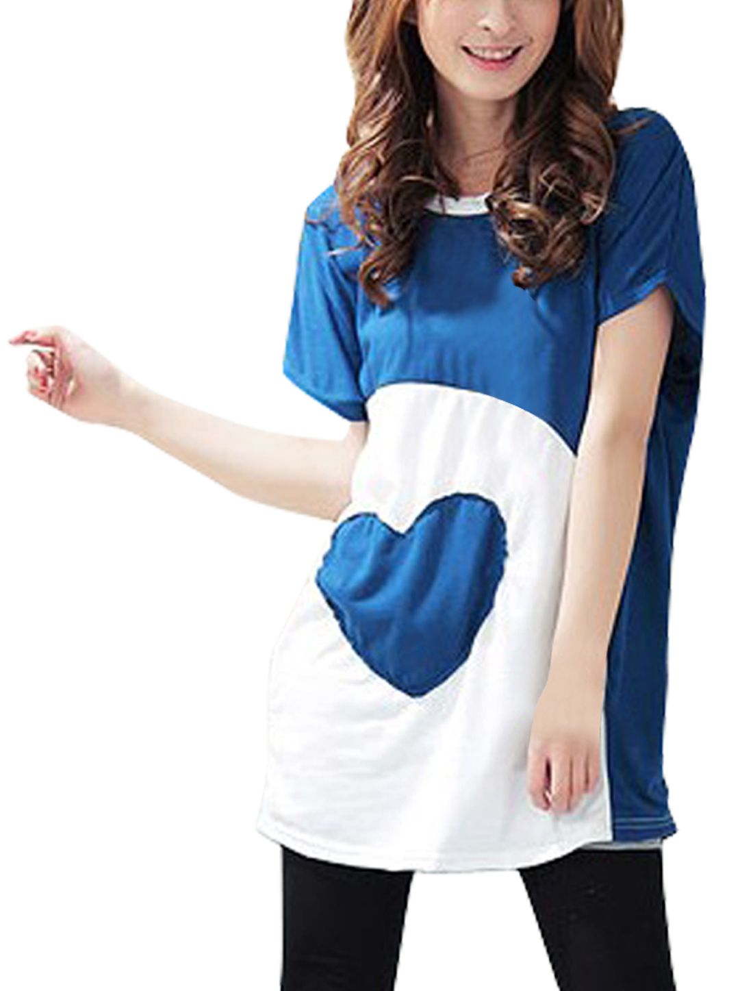 Women Scoop Neck Heart Print Contrast Color Tunic Shirt Blue White S