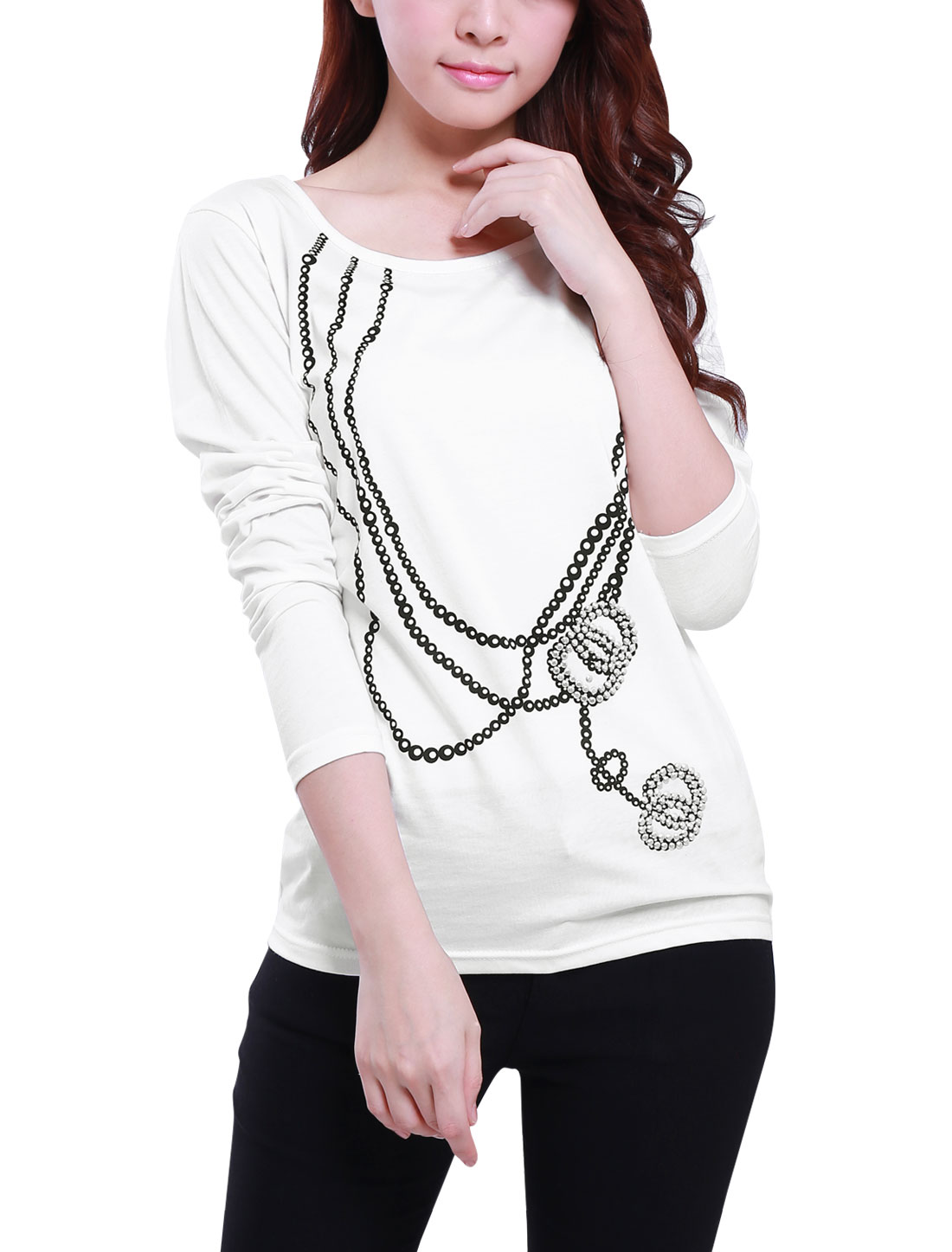 Necklace Prints White Scoop Neck Long Sleeve Shirt S for Women