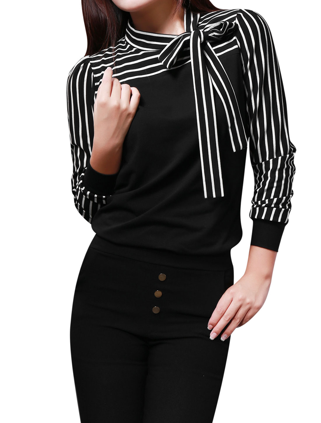 Self Tie Knot Stand Collar Striped Autumn Black Shirt XS for Women XS