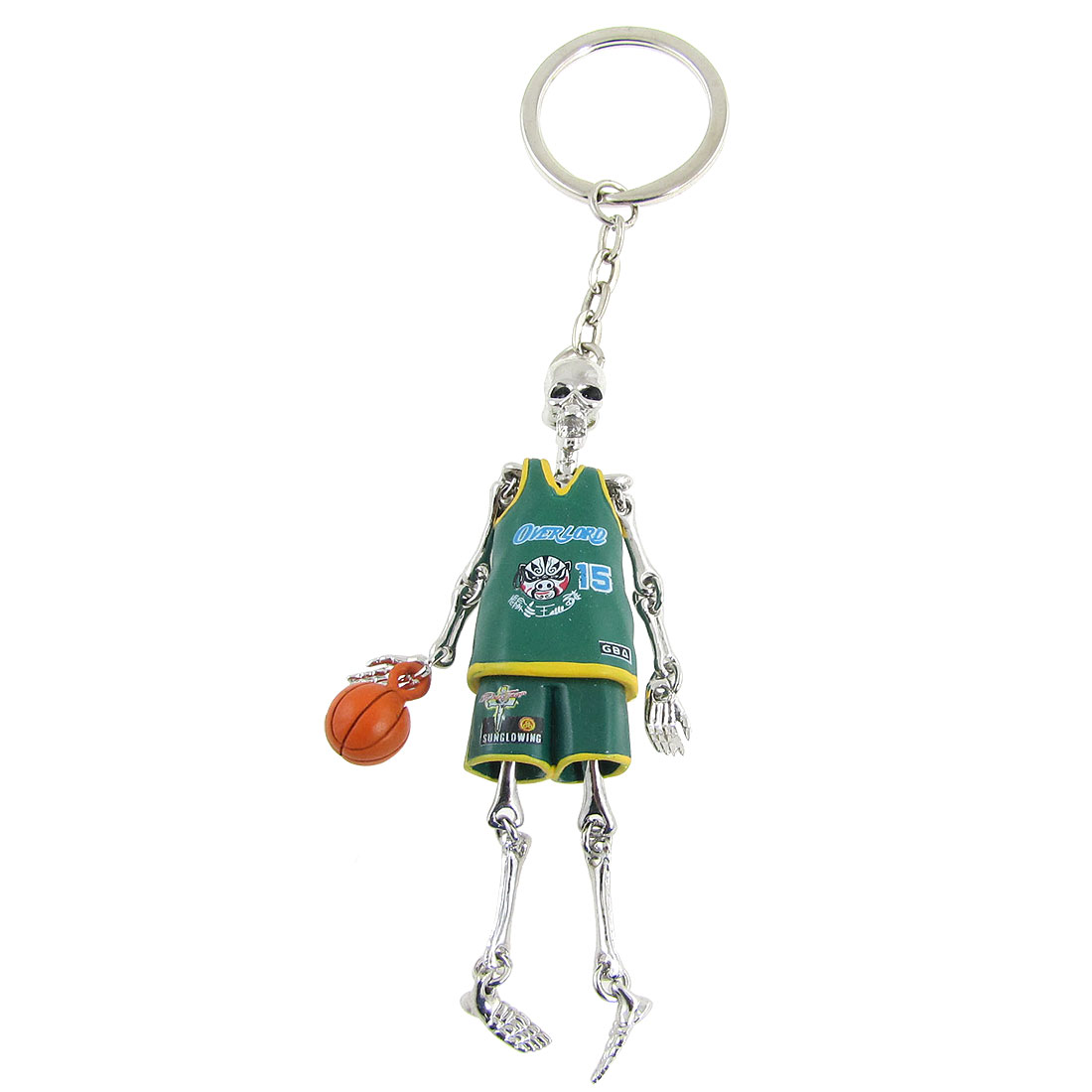 Silver Tone Green Skull Basketball Player Pendant Keyring Keychain