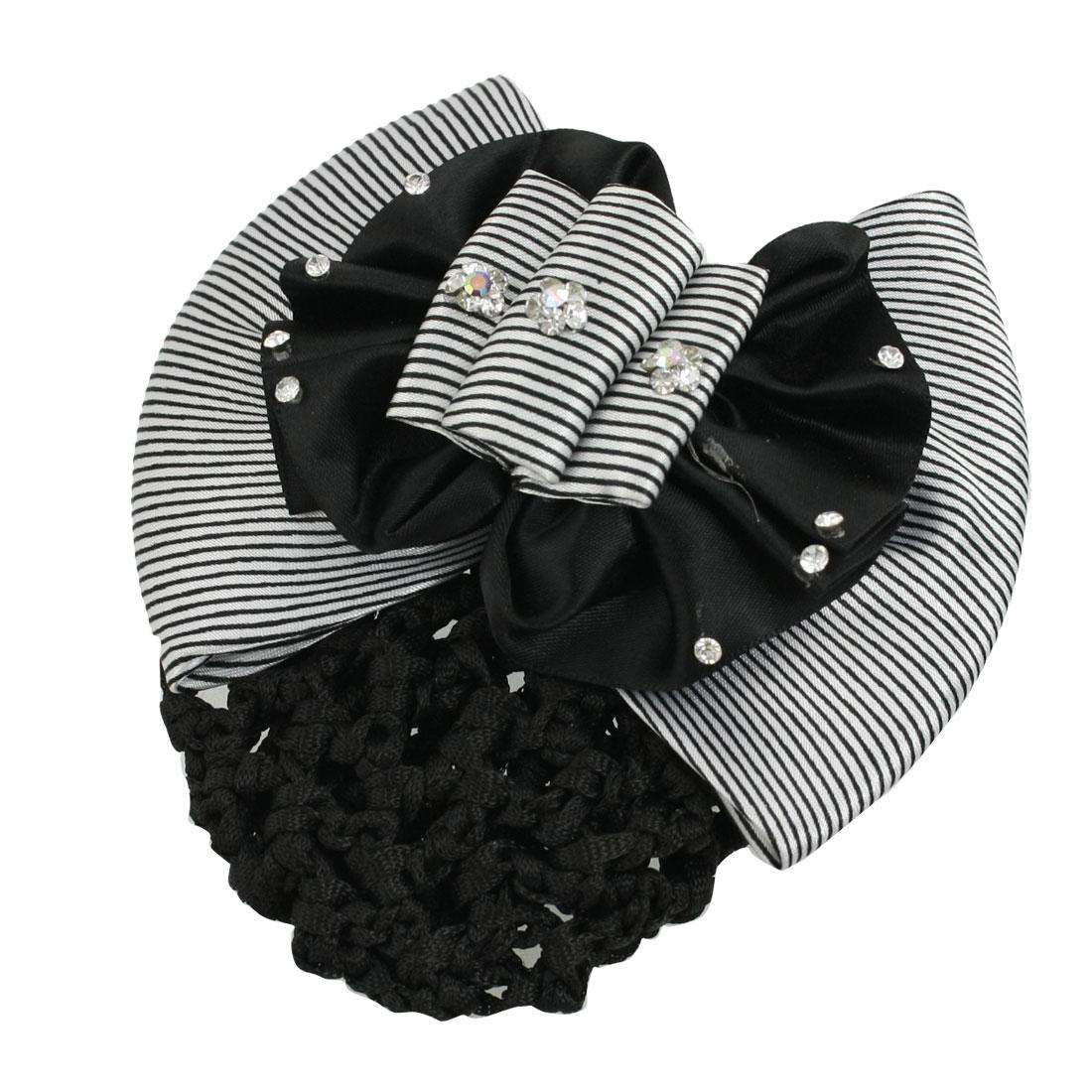 Woman Black White Striped Bowknot Barrette Hair Clip w Snood Net