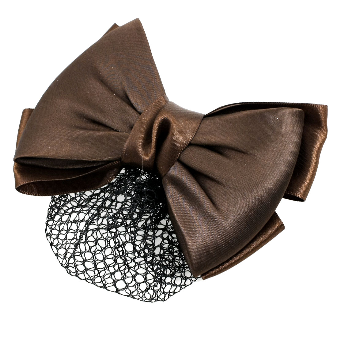 Coffee Color Bowknot Barrette Snood Net Hairclip Ornament for Woman