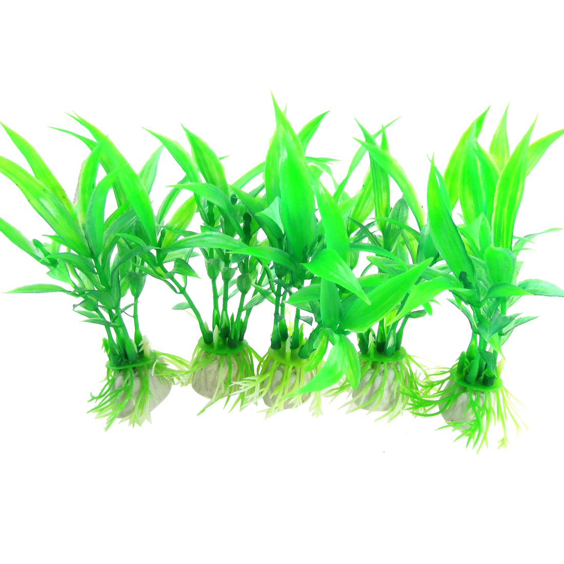 "5 Pcs 3.9"" Aquarium Decor Plastic Artificial Grass Plant Green"
