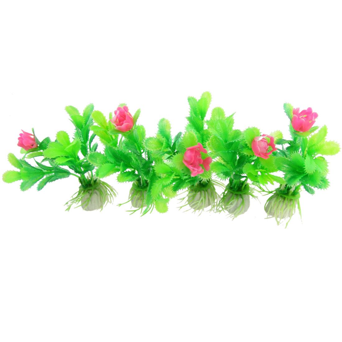 """5 Pcs Aquarium Plastic Emulational Red Flower Prickly Green Plant 3.5"""""""