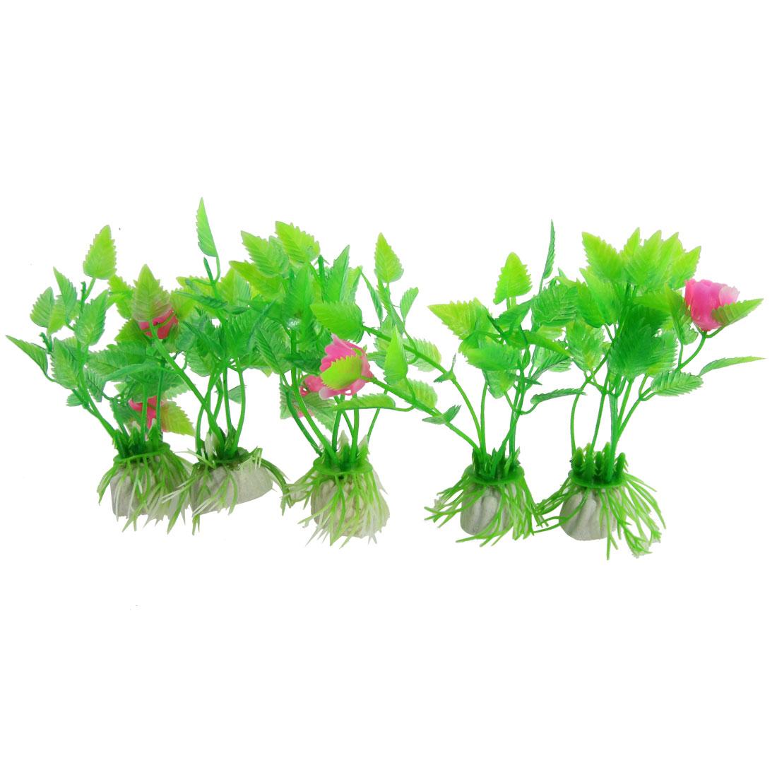 "5 Pcs Green Red Aquarium Plastic Emulational Flower Grass Plant 3.9"""