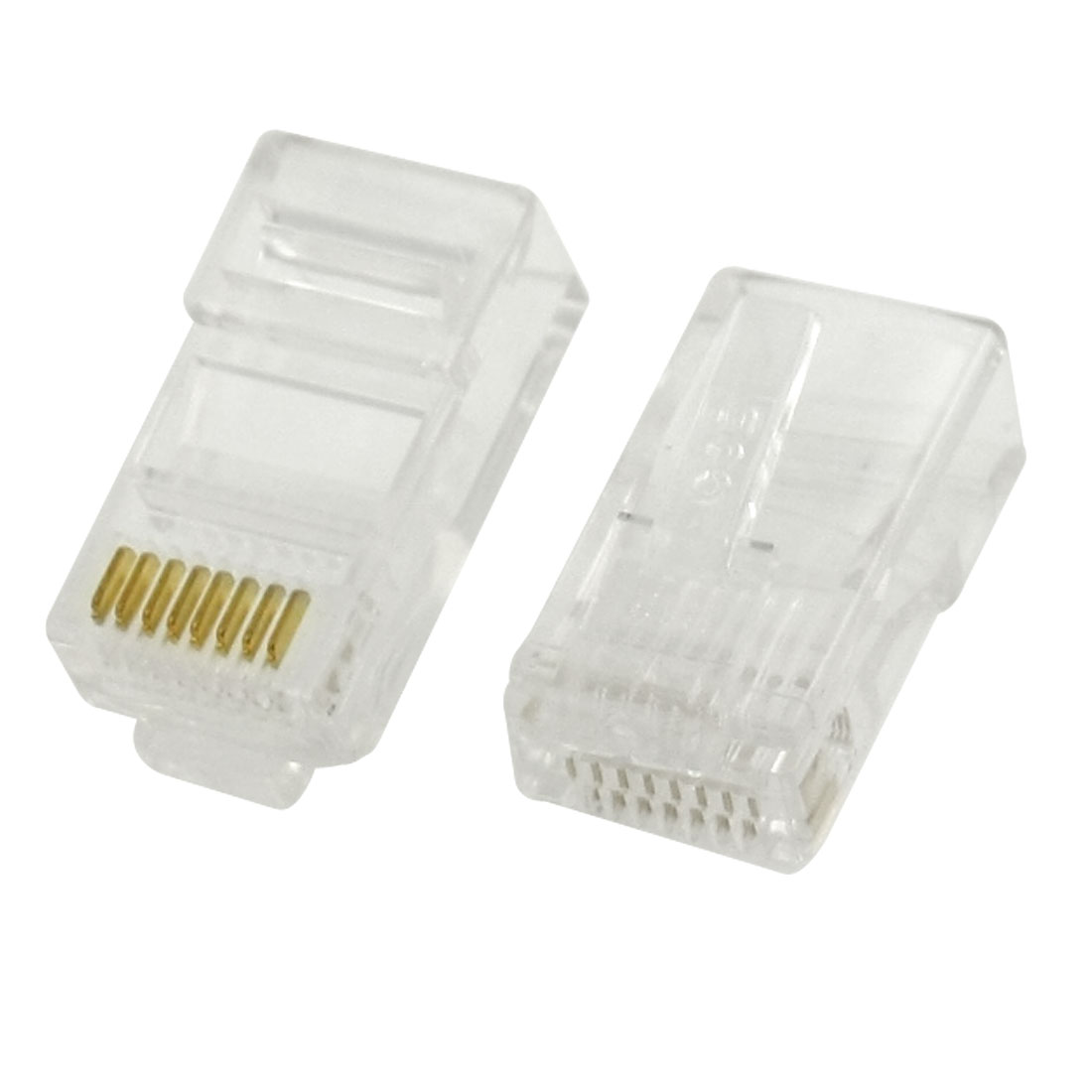 Plastic Shell RJ45 Jack Cat5E Lan Network Connectors Clear 100 Pcs