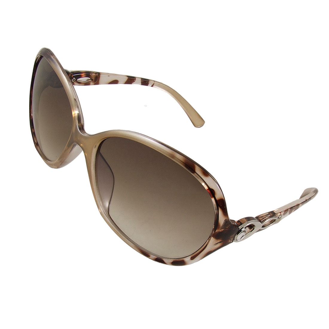 Leopard Pattern Plastic Arms Full Frame Colored Lens Sunglasses for Women