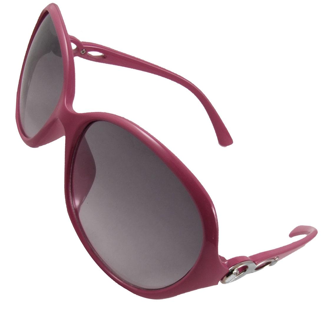 Women Cerise Pink Plastic Full Frame Rhinestone Decor Arms Sunglasses