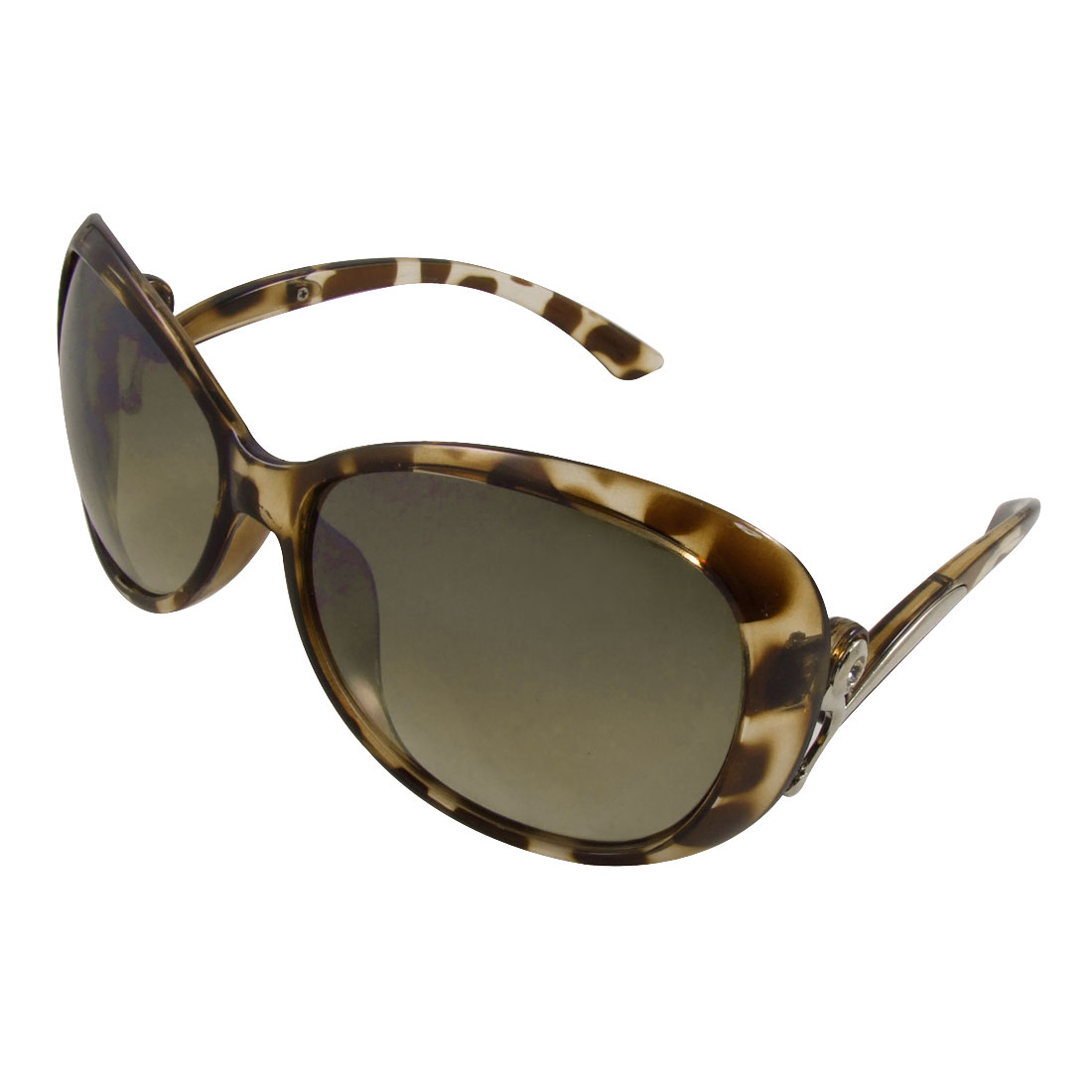 Women Leopard Pattern Plastic Frame Oversized Dark Lens Sunglasses