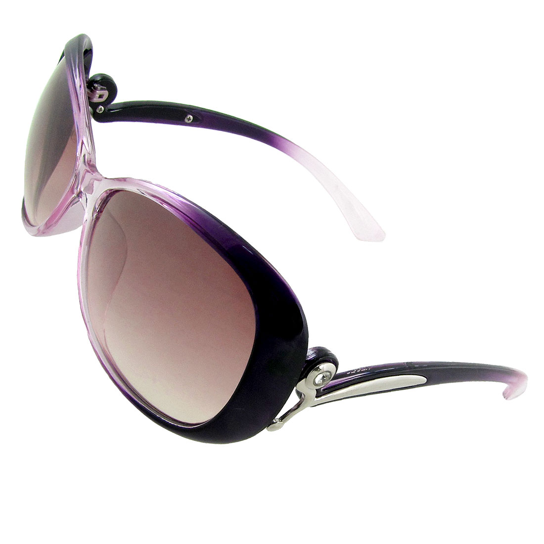 Women Purple Clear Plastic Frame Rhinestone Accent Temples Sunglasses