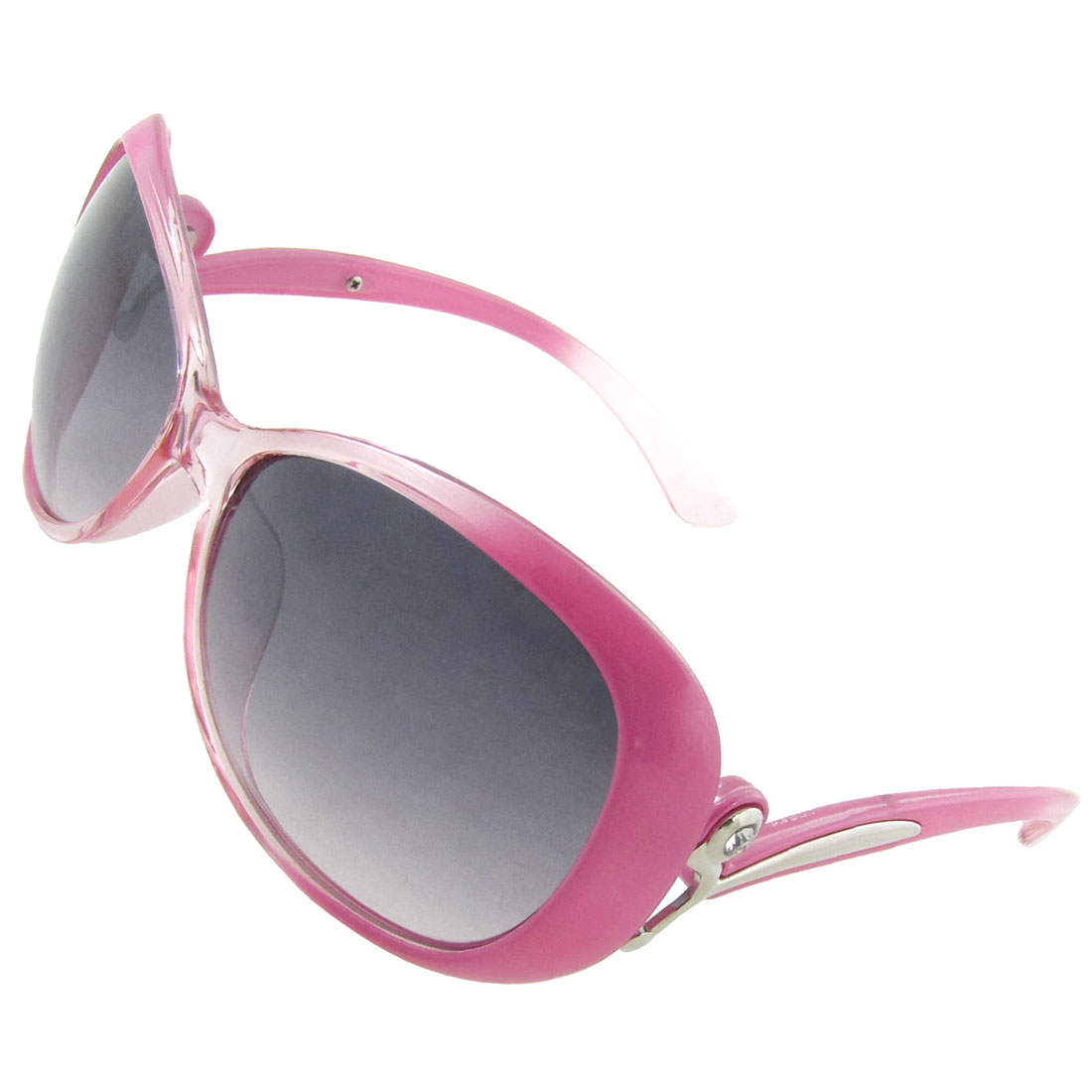 Women Silver Tone Decor Clear Pink Arms Plastic Full Frame Sunglasses