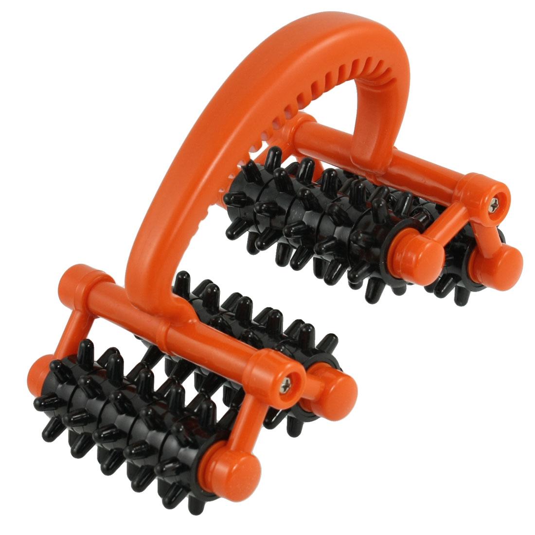 Handheld 20 Black Wheels Orange Grip Health Care Roller Massager
