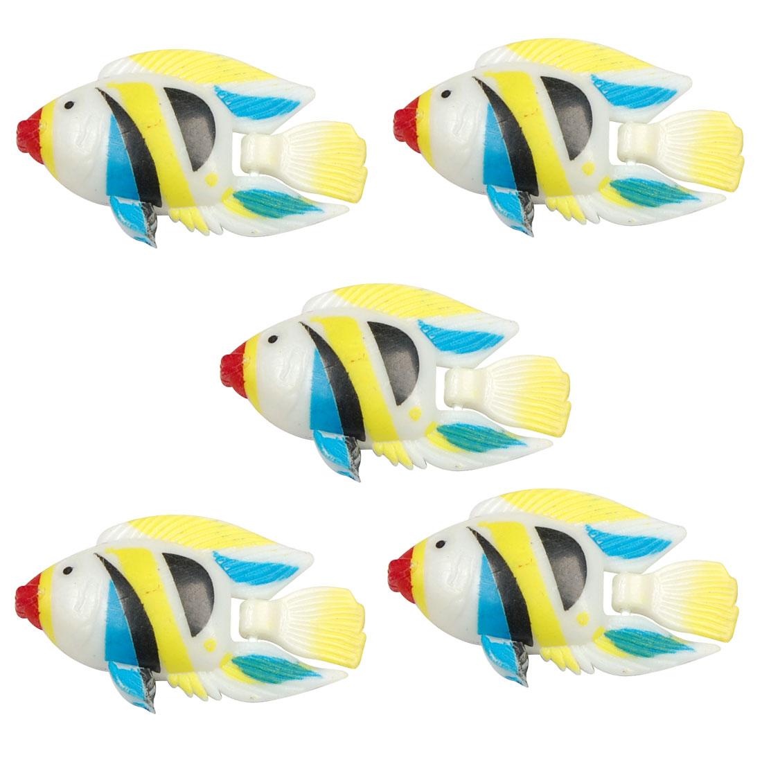 5 Pcs Aquarium Artificial Swing Tail Striped Plastic Fishes Yellow Blue Black