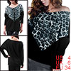Women Leopard Print Front Black Long Bat Sleeve Loose Shirt S