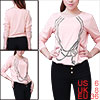 Scoop Neck Pink Long Sleeve Necklace Print Autumn Shirt S for Lady