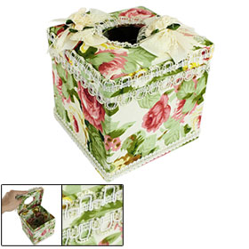 Rhinestone Decor Ribbon Flower Lace Detail Square Paper Box