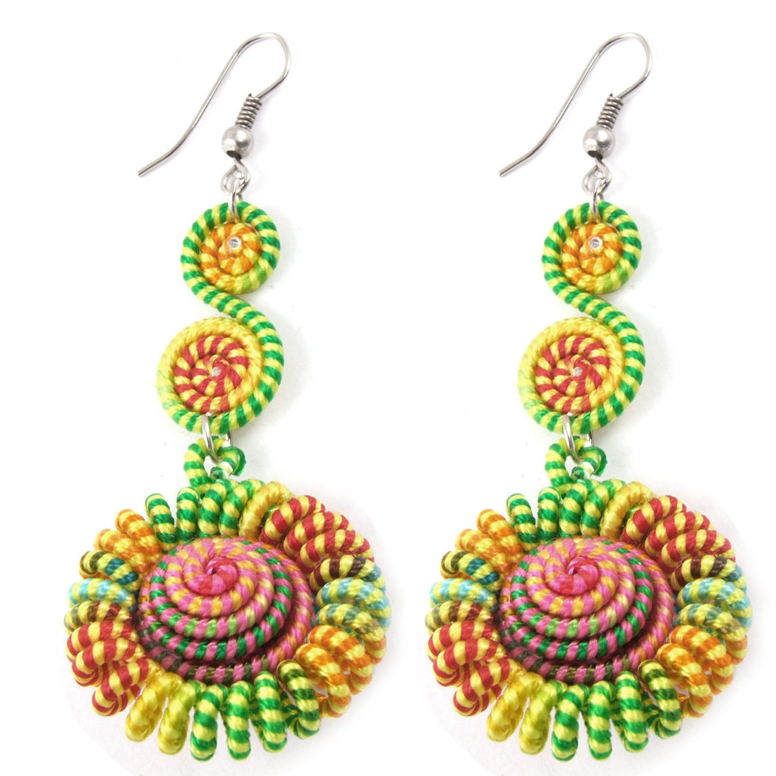 Women Colorful Cord Seashell Detailing Hand Craft Earrings Pair