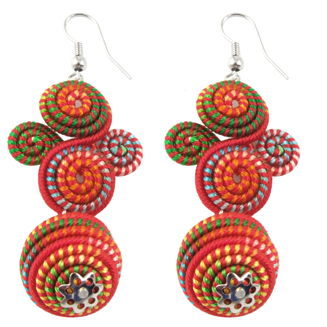 Pair Colorful Spiral Pendant Fish Hook Party Dangle Earrings for Ladies