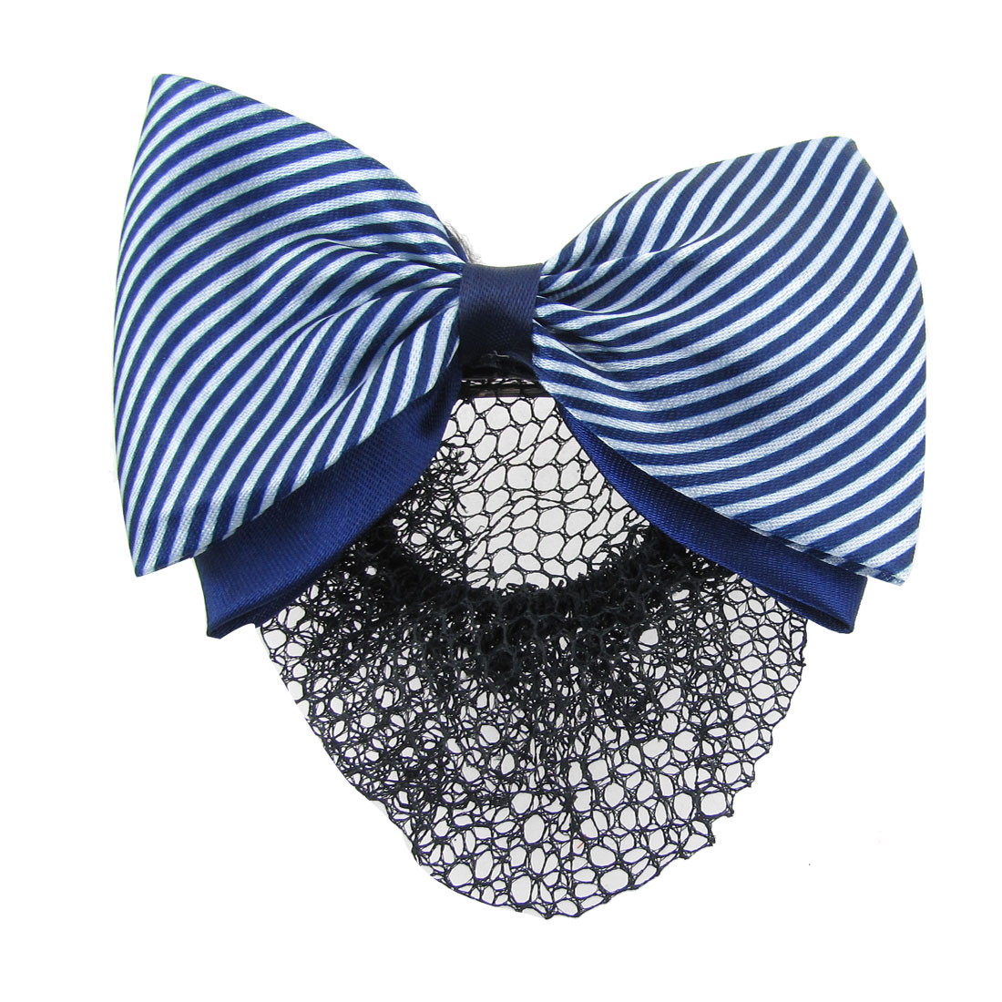 Striped Bowknot Snood Net Bun Cover Barrette Hair Clip Blue White