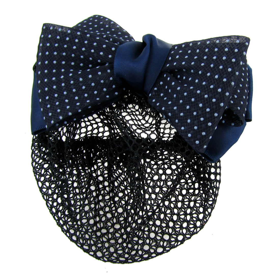 Woman Dotted Bow Barrette Hair Clip Bun Cover Dark Blue White w Net Snood