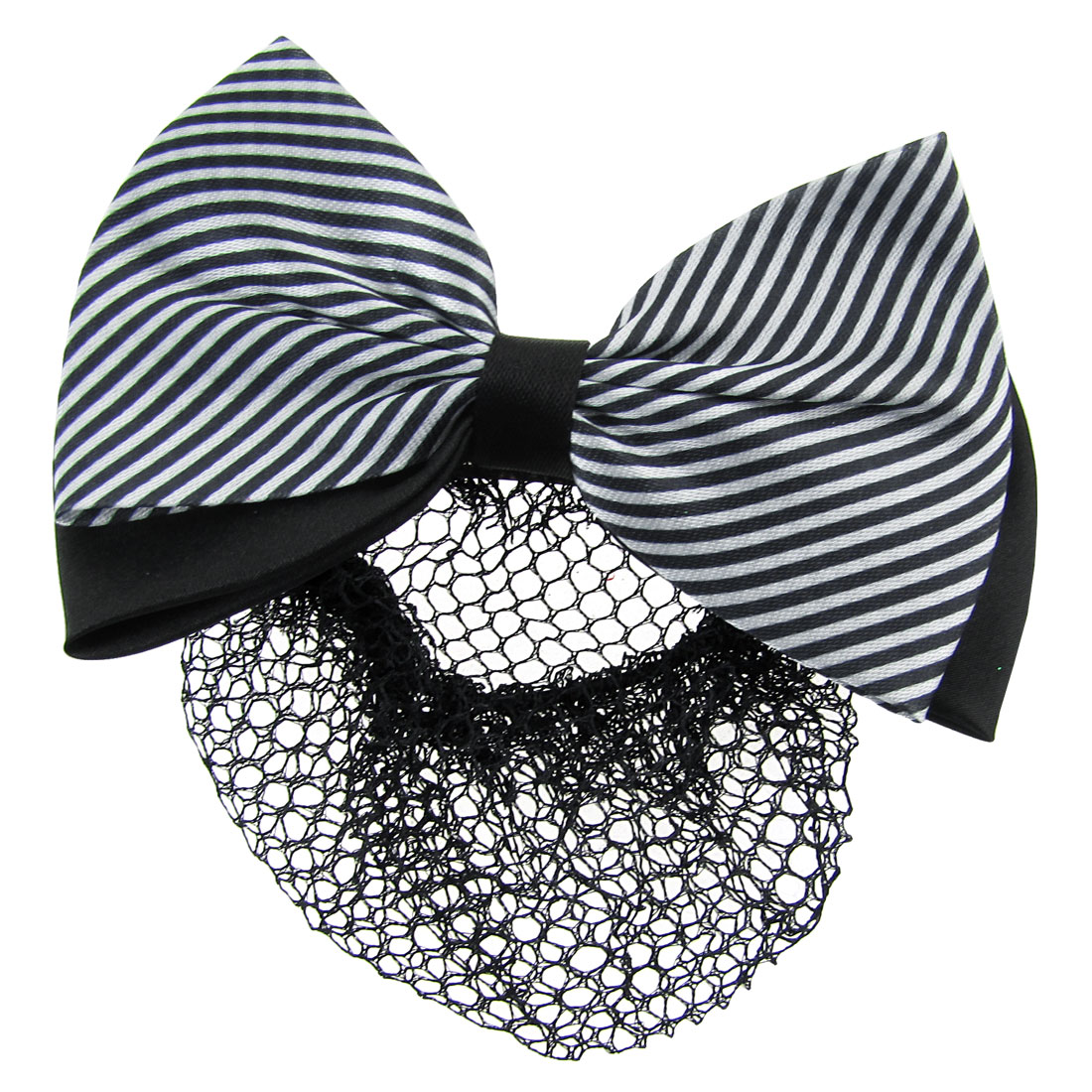 Black White Diagonal Striped Bow Barrette Hair Clip Bun Cover w Net Snood