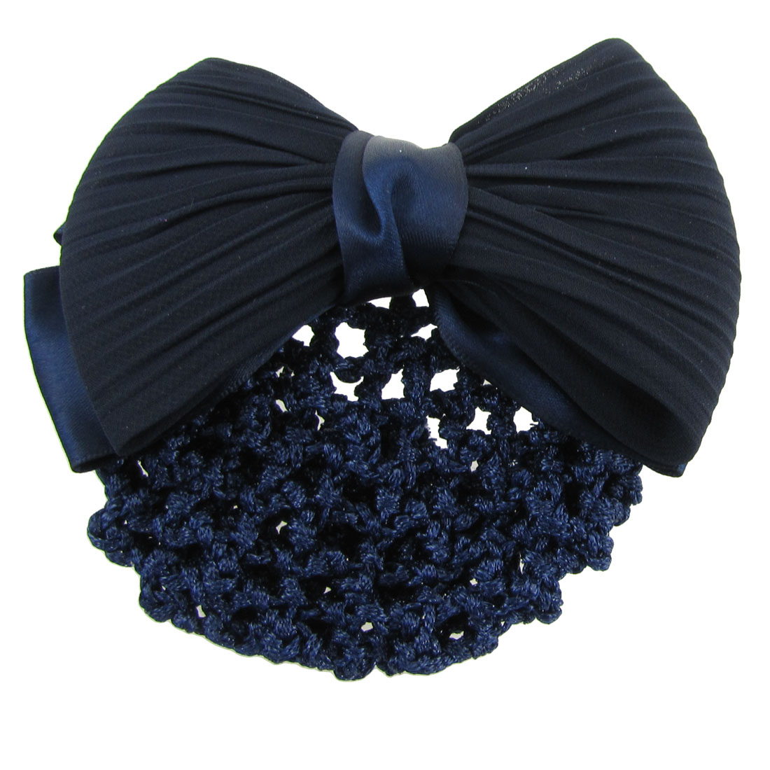Dark Blue Ruched Bowknot Snood Net Barrette Hair Clip Bun Cover for Woman