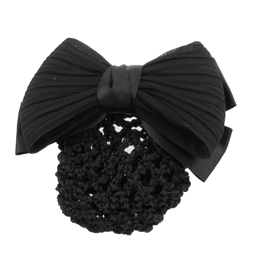 Woman Black Ruched Bowknot Bow Snood Net Bun Cover Barrette French Hair Clip