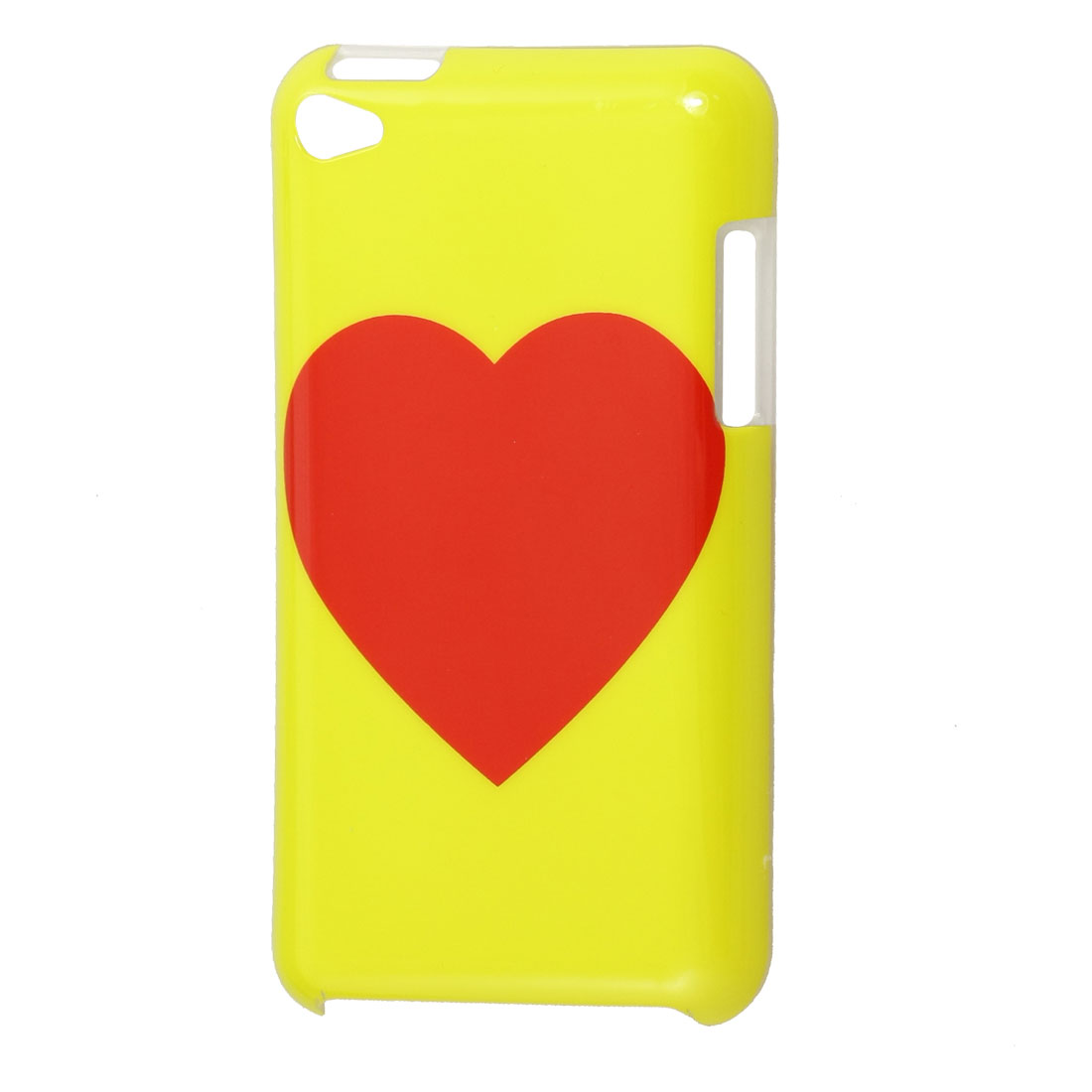 Red Heart Pattern Yellow Hard Plastic IMD Back Case for iPod Touch 4G