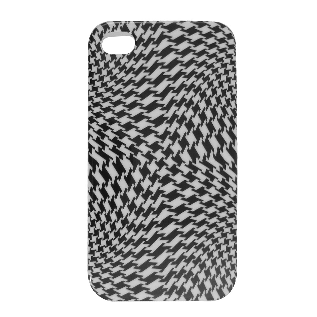 IMD White Black Houndstooth Pattern TPU Soft Plastic Cover for iPhone 4 4G