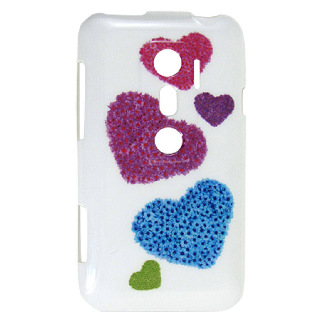 IMD Colorful Heart Pattern White TPU Soft Plastic Back Shell for HTC EVO 3D