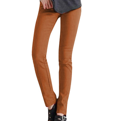 Ladies Brown High Rise Stretchy Pencil Leng Skinny Casual Pants XS