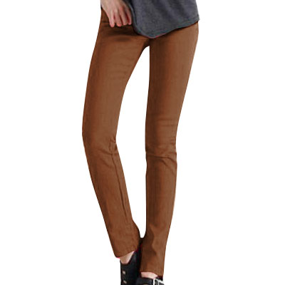 Women Coffee Color Elastic Waist Stretchy Skinny Pencil Leg Pants XS