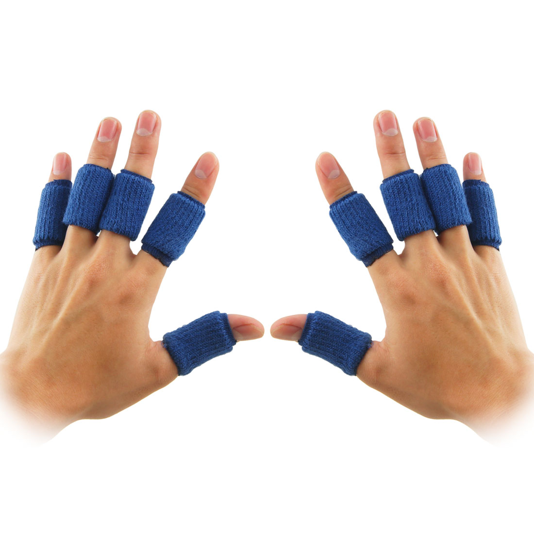10 Pcs Sports Basketball Blue Elastic Finger Sleeve Supprots